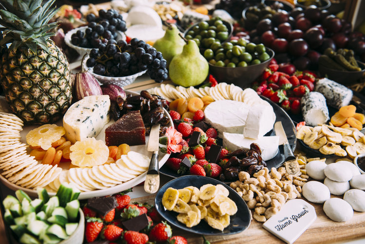 grazing table of fruits cheeses gluten free options central coast
