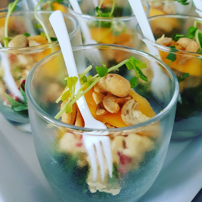 catering central coast wedding canapé chicken cashew and mango