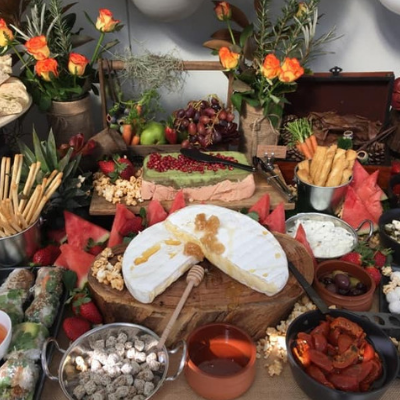 central coast catering grazing table filled with finger food