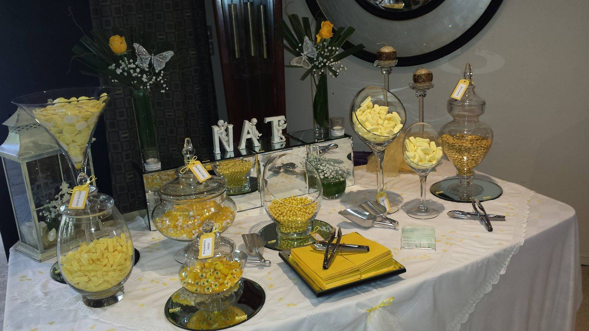 yellow theme lolly table for 18th birthday party catering